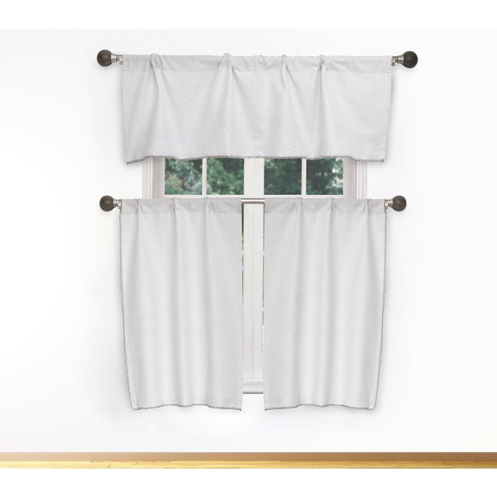Nakita Kitchen Valance in White-Silver - 15 in. W x 58 in. L (3-Piece)
