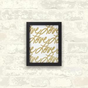 Linden Ave 8 inch x 10 inch Love Gold 1-Piece Framed Artwork with Glitter by Linden Ave