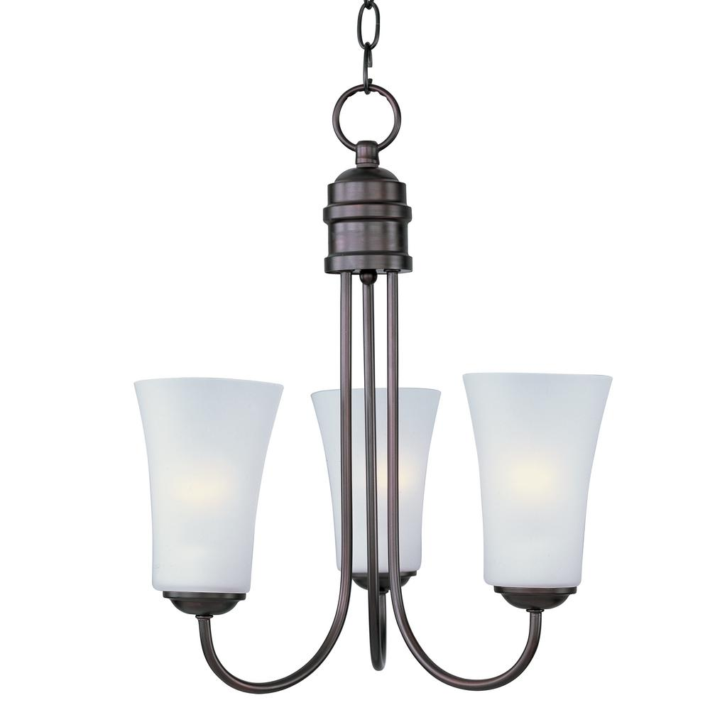 Logan 3-Light Oil Rubbed Bronze Chandelier with Frosted Shade