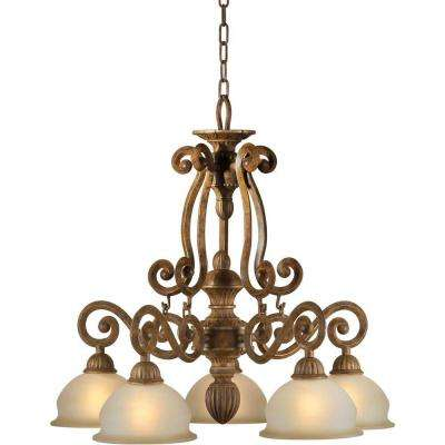 5-Light Chestnut Copper Chandelier with Umber Glass Shade