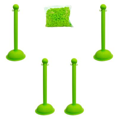 Heavy-Duty Safety Green Stanchion and Chain Kit