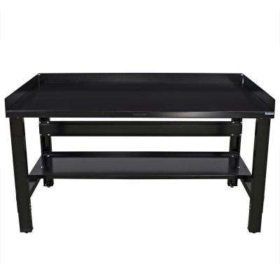 34 in. x 48 in. Heavy-Duty Adjustable Height Workbench with Black Painted Top with Edge Guards and Bottom Shelf