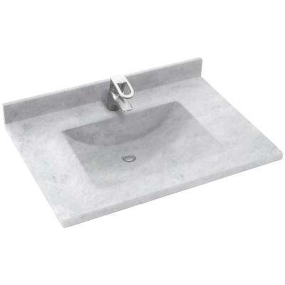 Freedomline 37 in. W x 22 in. D Solid Surface Pocket Vanity Top Kit with Sink in Ice