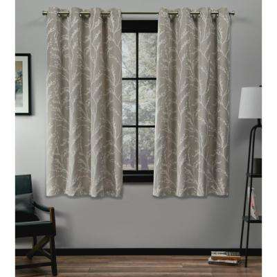 Kilberry 52 in. W x 63 in. L Woven Blackout Grommet Top Curtain Panel in Natural (2 Panels)