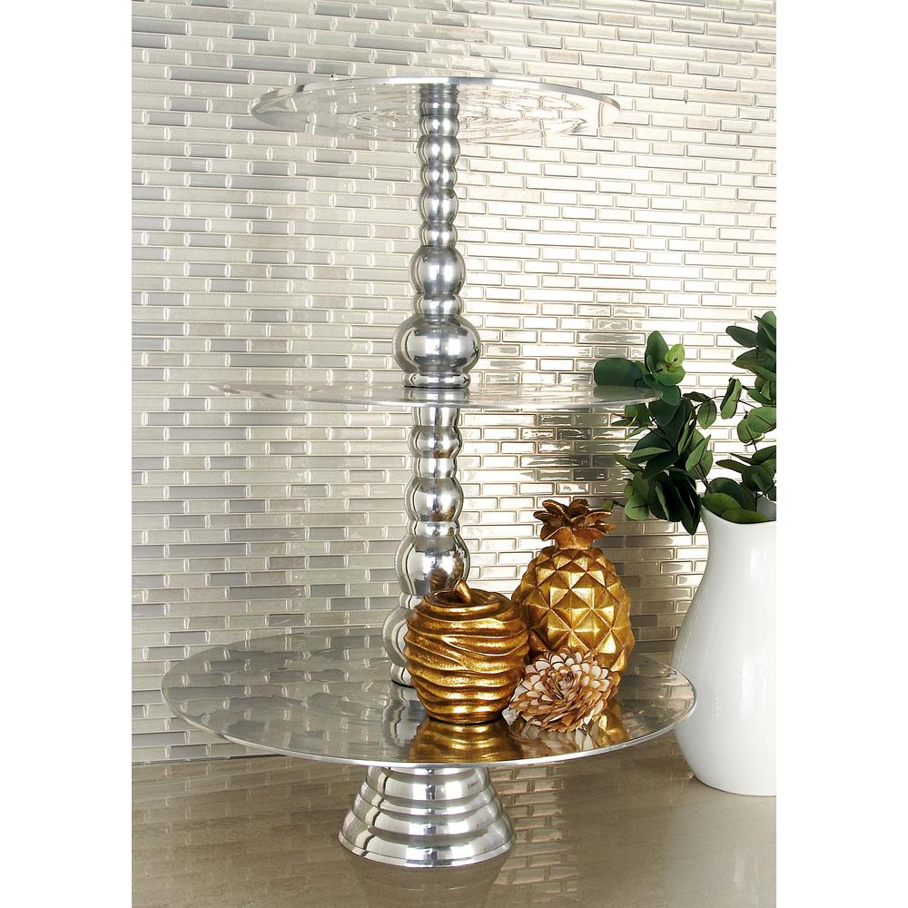 23 in. Polished Silver Aluminum 3-Tiered Round Cake Stand