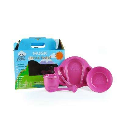 5-Piece Pink Dinnerware Set