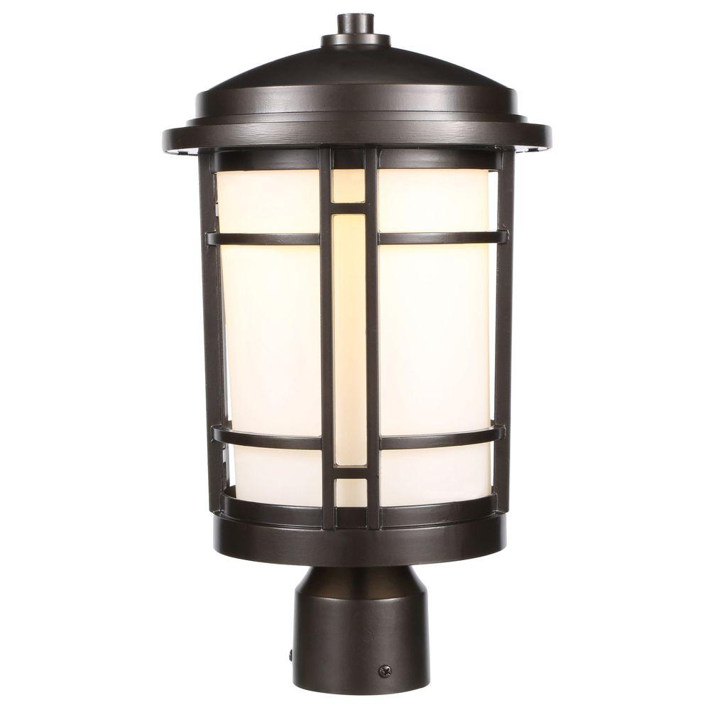 World imports 9 in burnished bronze outdoor led post light with burnished bronze outdoor led post light with white opal glass aloadofball Choice Image