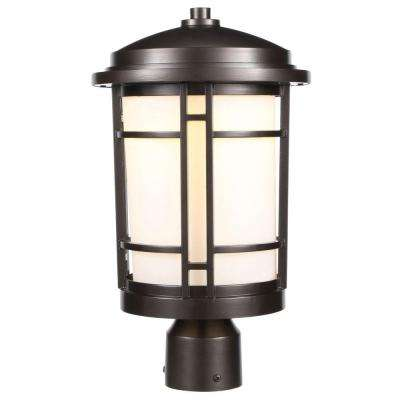 9 in. Burnished Bronze Outdoor LED Post Light with White Opal Glass