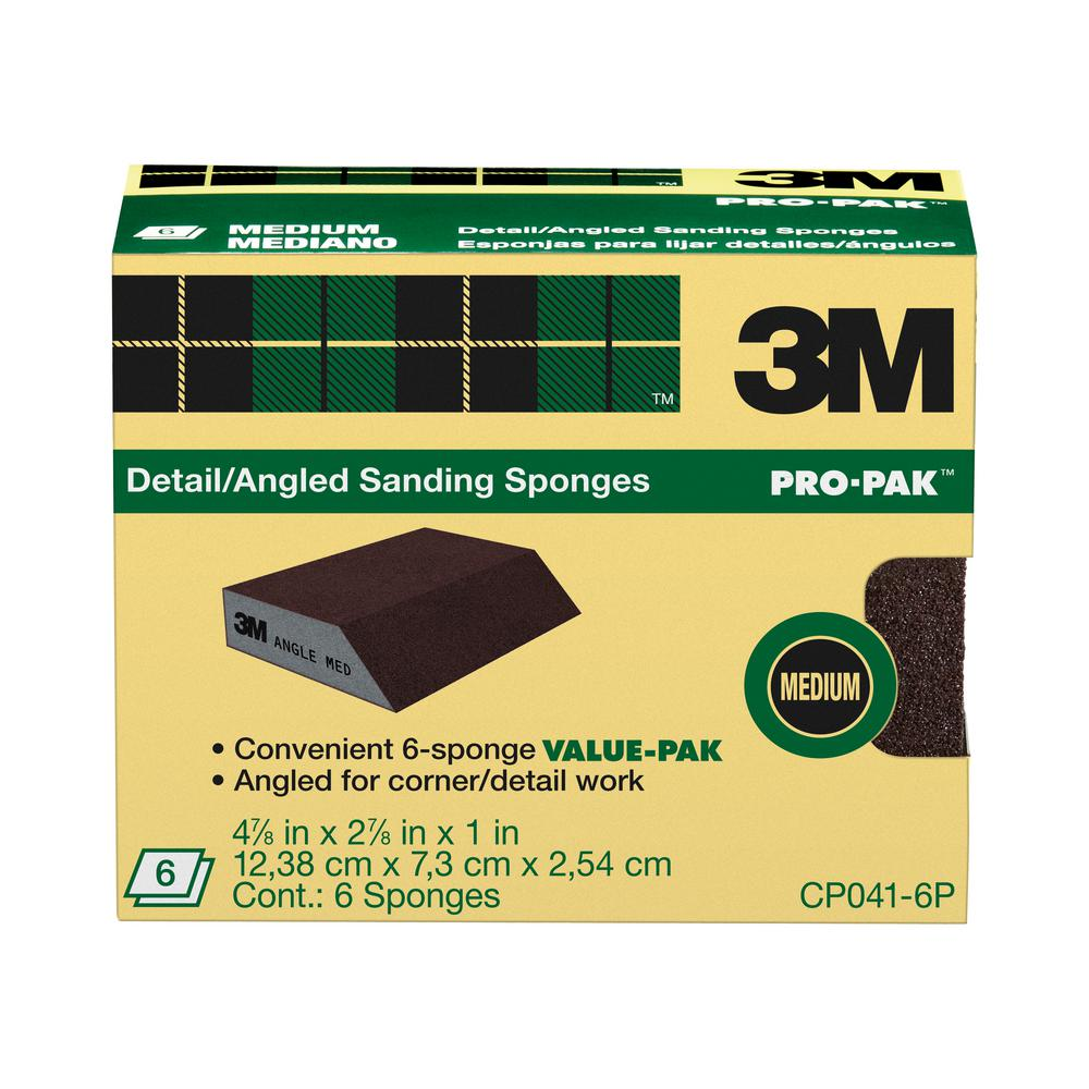 3M 2-7/8 in. x 4-7/8 in. x 1 in. Medium Detail Area/Angled Sanding Sponge (6-Pack)
