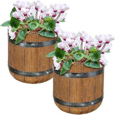Vineyard 9 in. Fiber Clay Classic Barrel Durable Indoor/Outdoor Use Planter Flower Pot (Set of 2)