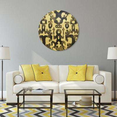 """""""Abstract"""" Circular Gold Canvas Giclee Printed on 2"""" Wood Stretcher Wall Art"""