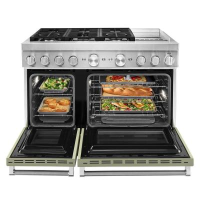 48 in. 6.3 cu. ft. Smart Double Oven Dual Fuel Range with True Convection in Avocado Cream with Griddle
