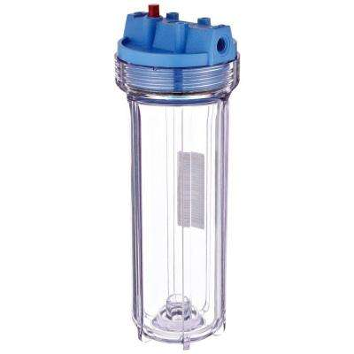 158117 1/4 in. Inlet/Outlet 10 in. Filter Clear Slim Line Housing with Pressure Release