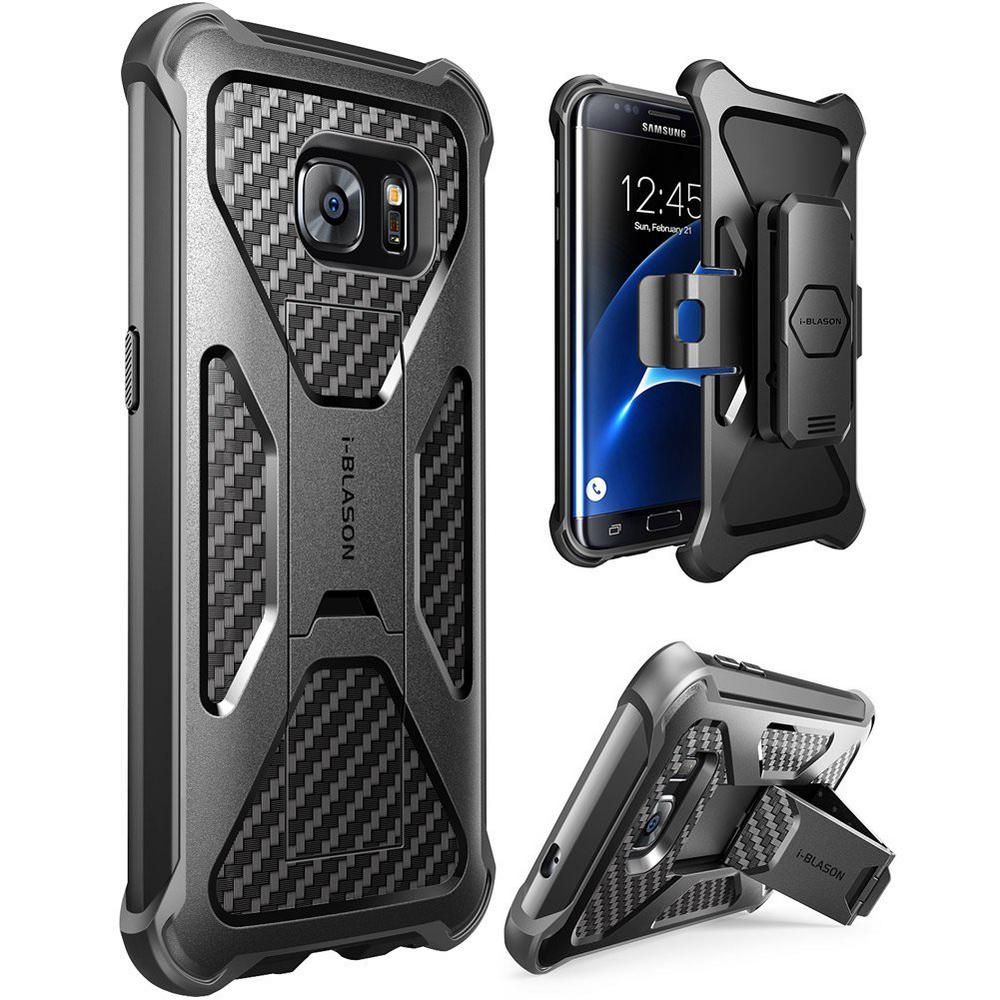 Galaxy S7 Edge-Prime Series Stand Case and Holster, Black