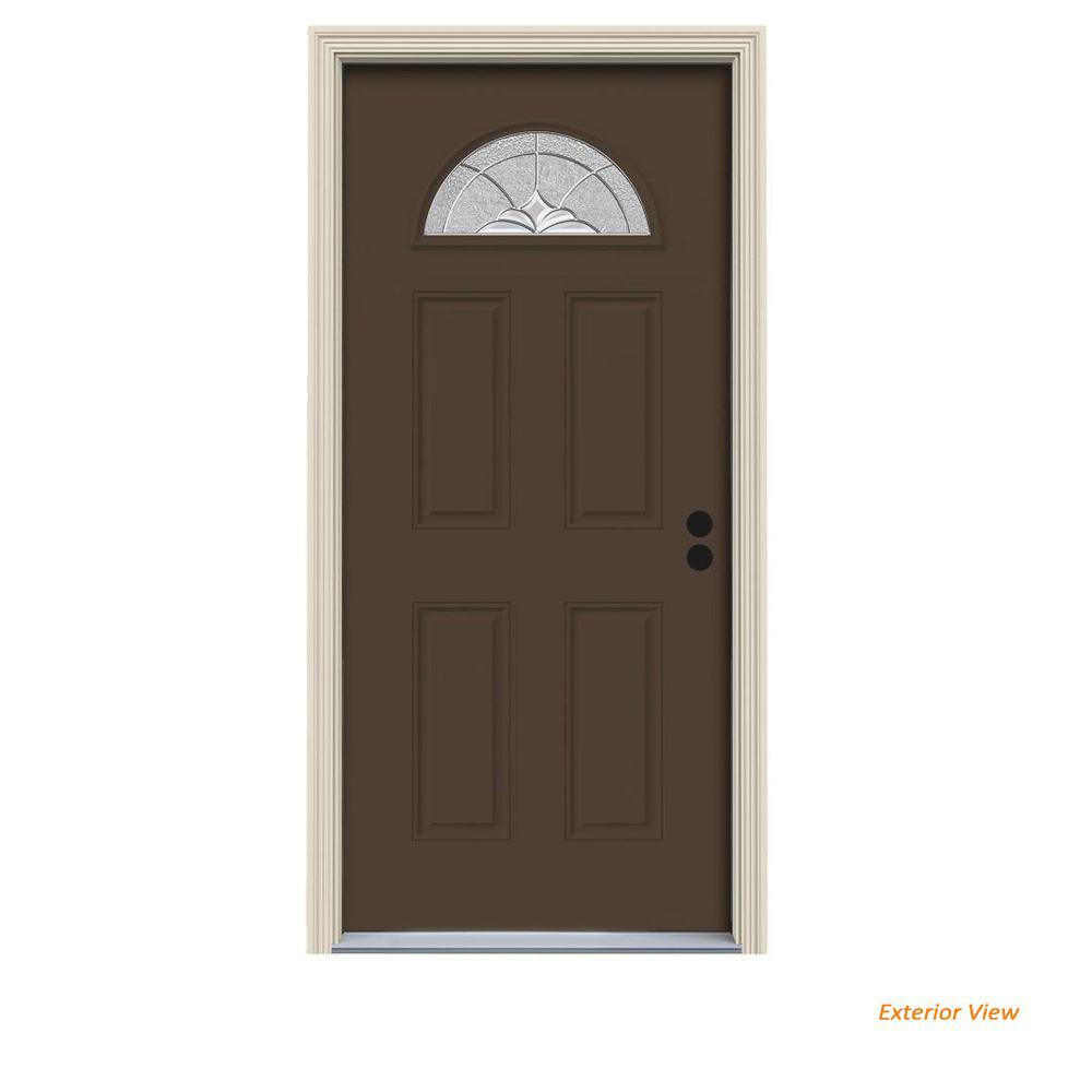 34 in. x 80 in. Fan Lite Langford Dark Chocolate Painted Steel Prehung Left-Hand Inswing Front Door w/Brickmould