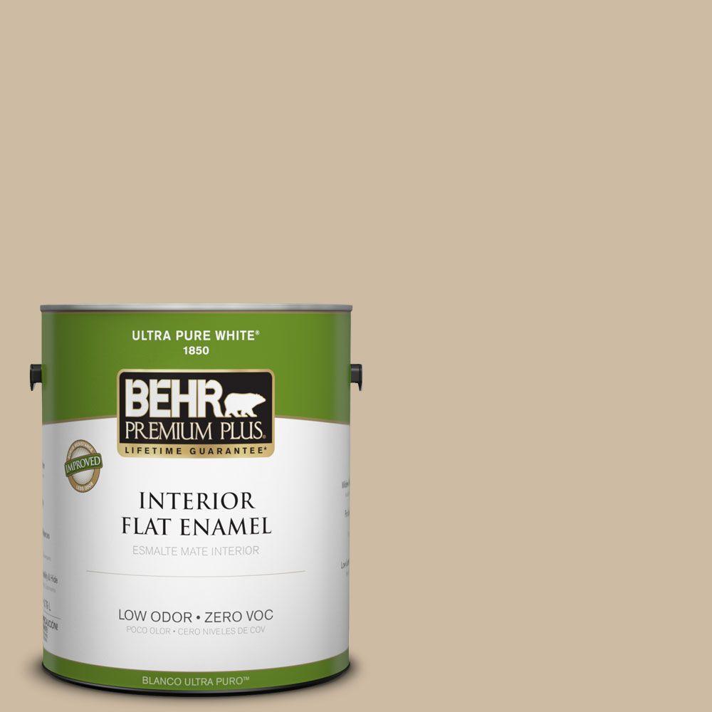 BEHR Premium Plus 1-gal. #710C-3 Gobi Desert Zero VOC Flat Enamel Interior Paint-DISCONTINUED