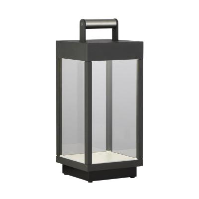 14 in. Graphite Grey Outdoor Table Lamp with Glass Shade