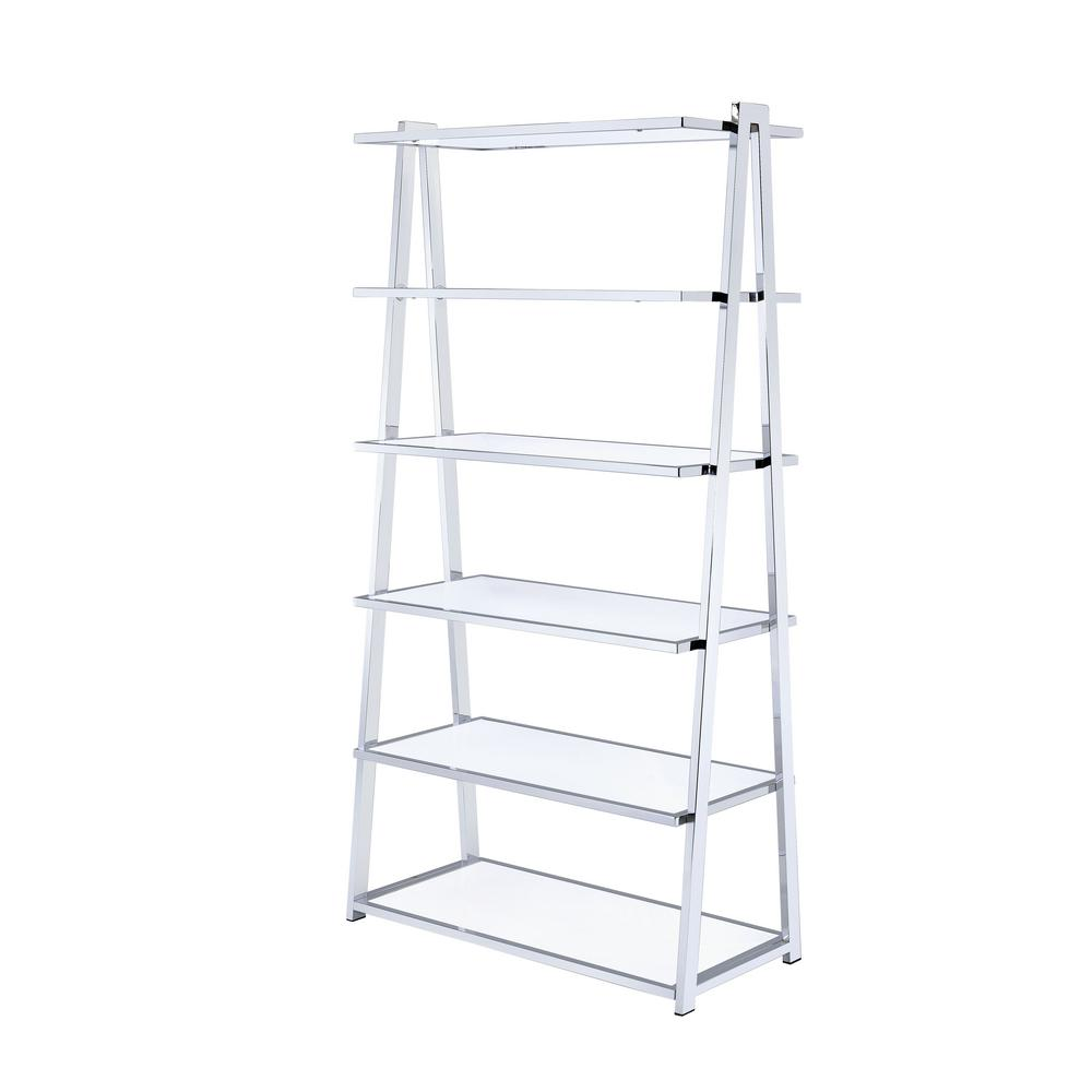 Acme Furniture Coleen White High Gloss And Chrome Leaning Bookcase