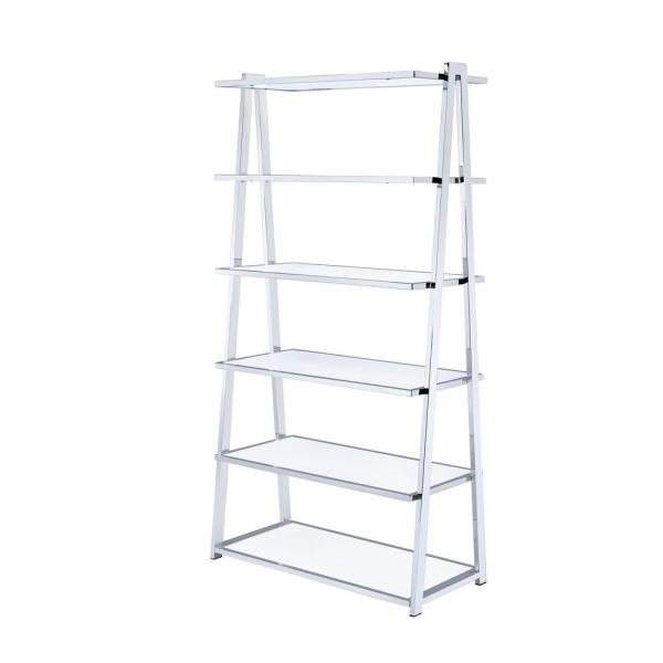 ACME Furniture Coleen White High Gloss and Chrome Leaning Bookcase 92455