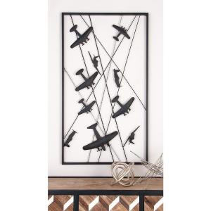 Iron Black and Gray Vintage Airplanes-in-Flight Wall Decor by