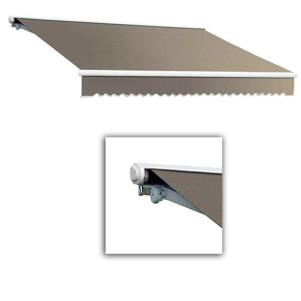 AWNTECH 10 ft. Galveston Semi-Cassette Right Motor with Remote Retractable Awning (96 in. Projection) in Taupe