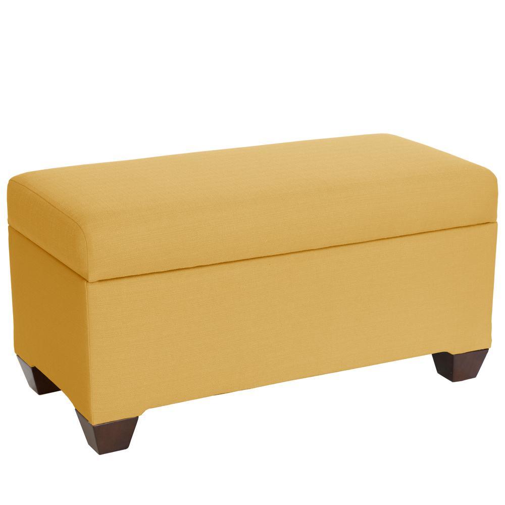 Awesome Hamilton Klein Mustard Skirted Storage Bench Frankydiablos Diy Chair Ideas Frankydiabloscom