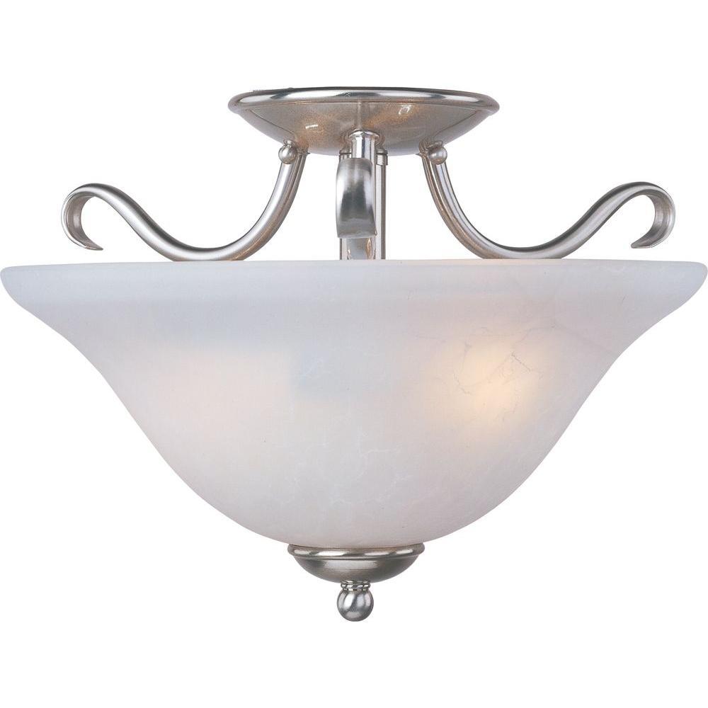 Basix 2-Light Satin Nickel Semi-Flush Mount Light