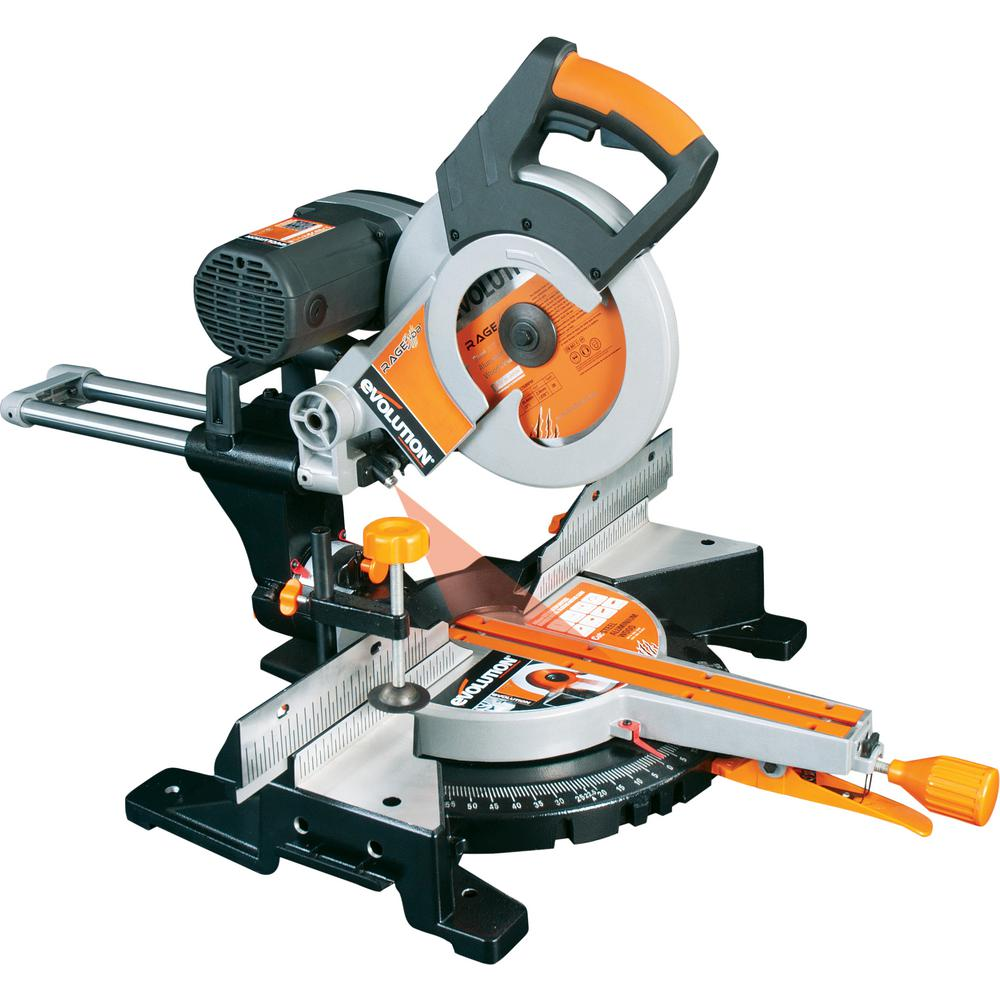 Evolution Power Tools 15 Amp 10 in. Multi-Material Double Bevel Sliding Miter Saw