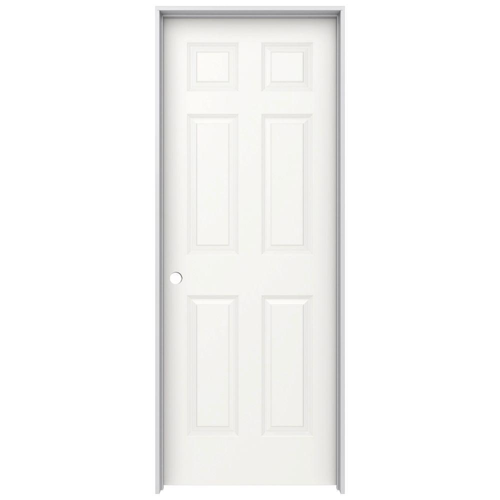 28 in. x 80 in. Colonist White Painted Right-Hand Smooth Molded