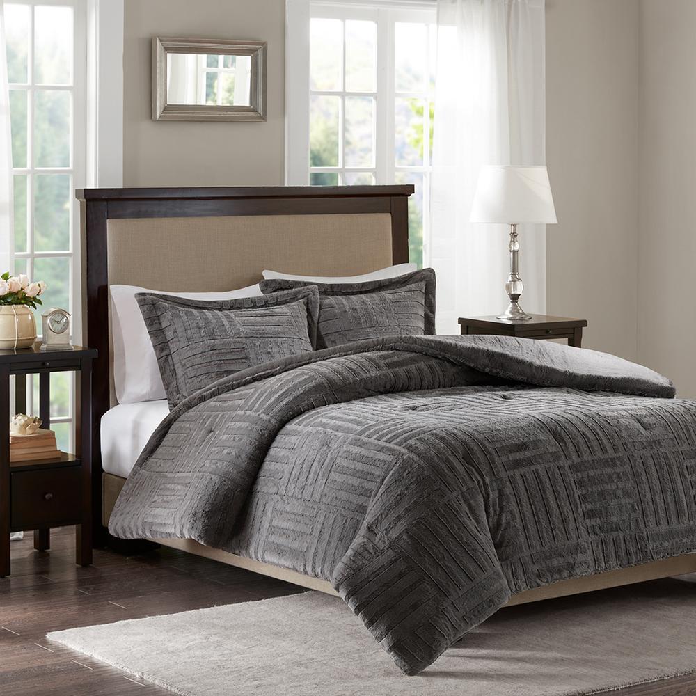 Madison Park Polar 3 Piece Grey King/Cal King Comforter Set BASI10