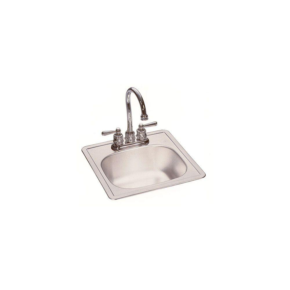 2 Hole Single Bowl Bar Sink In Stainless 16347007   The Home Depot