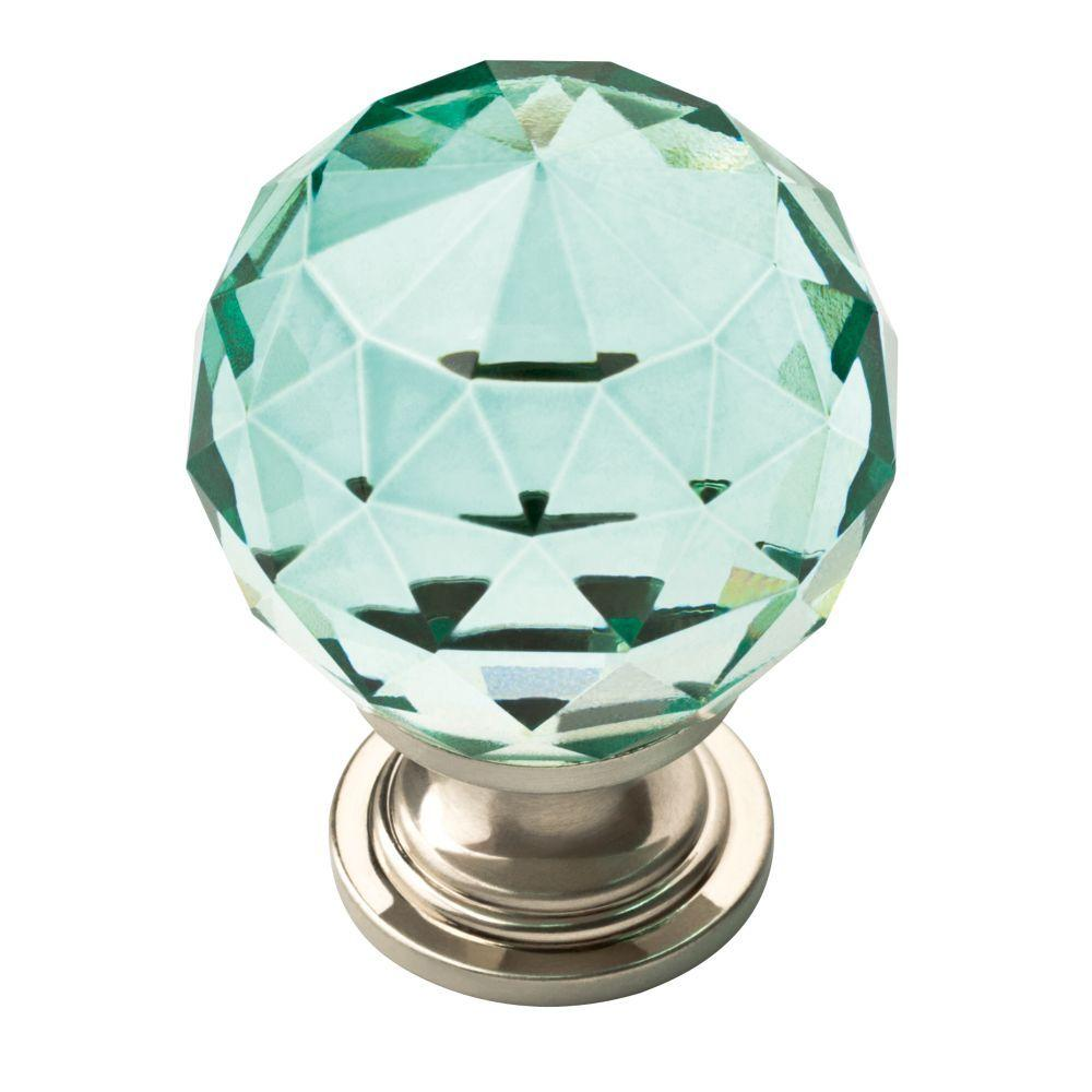 1-3/16 in. Satin Nickel with Dark Teal Faceted Glass Ball Cabinet