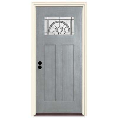 36 in. x 80 in. Right-Hand 1-Lite Craftsman Ardsley Stone Stained Fiberglass Prehung Front Door with Brickmould