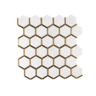 Karats White 10.625 in. x 11.125 in. x 8 mm Hexagon Natural Stone/Metal Wall and Floor Mosaic Tile