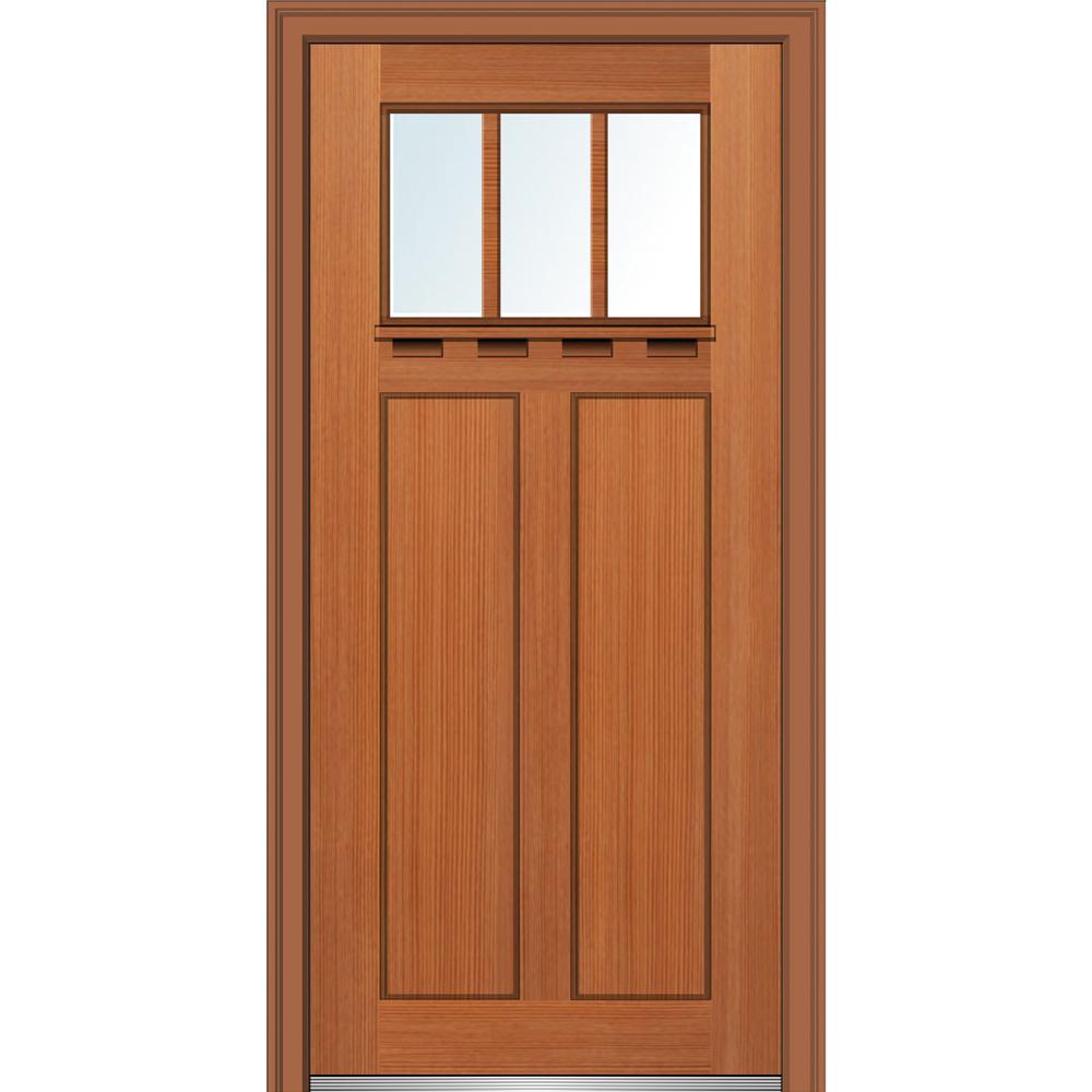36 in. x 80 in. Low-E Glass Left-Hand Craftsman 2-Panel 3-Lite Clear Stained Fiberglass Fir Prehung Front Door w/ Shelf