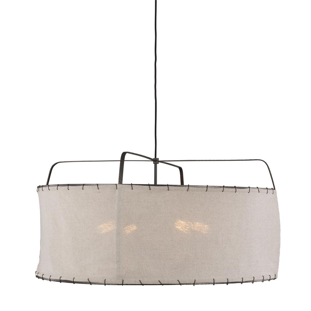 Generation Lighting Designer Collections Ed Ellen Degeneres Crafted By Dunne 34 In W 4 Light Aged Iron Pendant With Sewn Natural