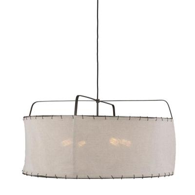 ED Ellen DeGeneres Crafted by Generation Lighting Dunne 34 in. W 4-Light Aged Iron Pendant with Sewn Natural Linen Shade