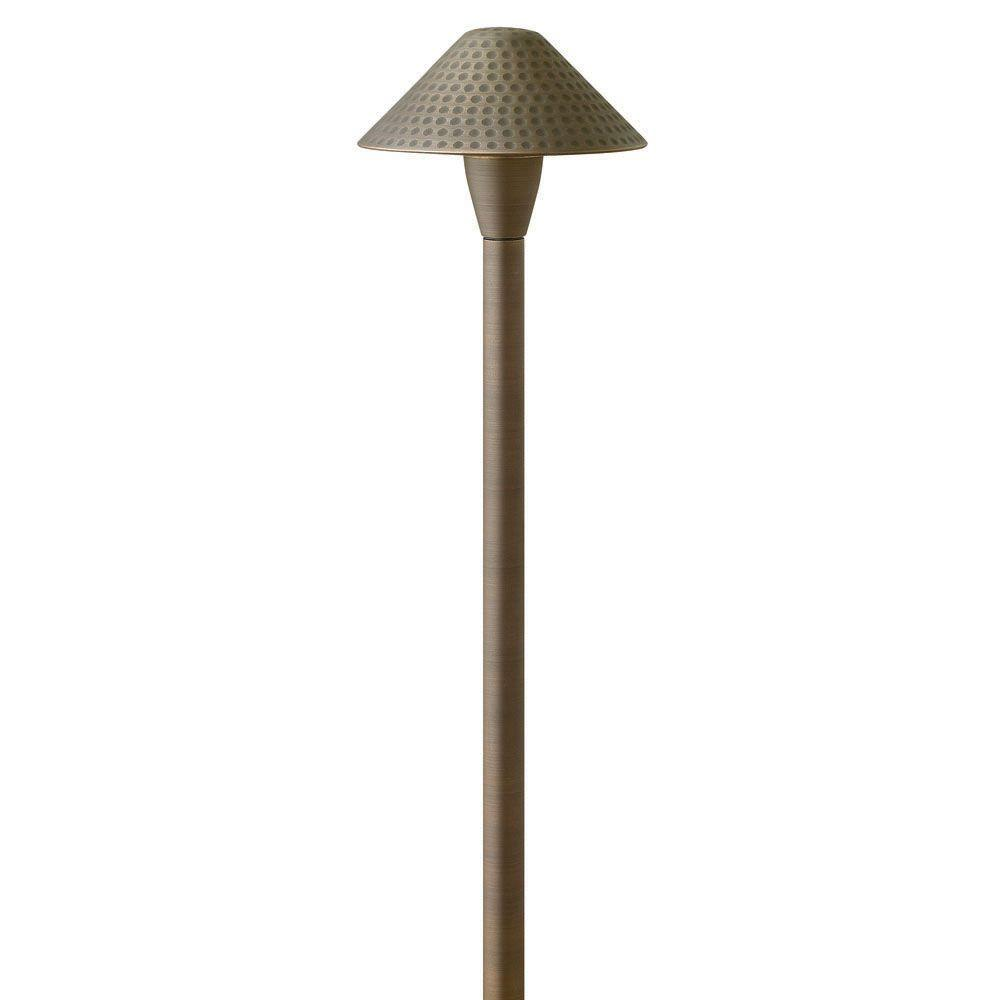 Low-Voltage 20-Watt Matte Bronze Hardy Island Hammered Cast Brass Path Light