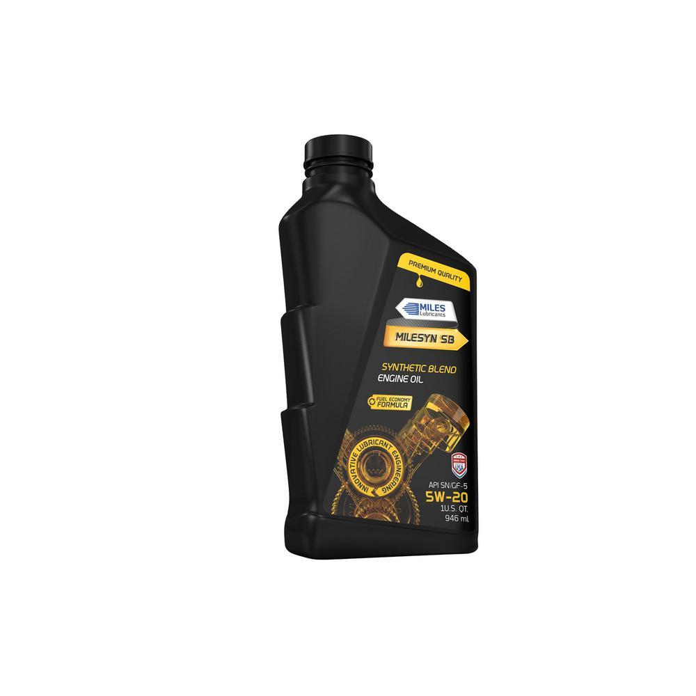 Milesyn SB 5W20, 1 Qt. Synthetic Blend Motor Oil Bottle (Pack of 12)