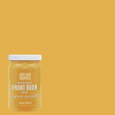 Express Yourself 1 qt. Satin Confident Yellow Water-Based Front Door Paint
