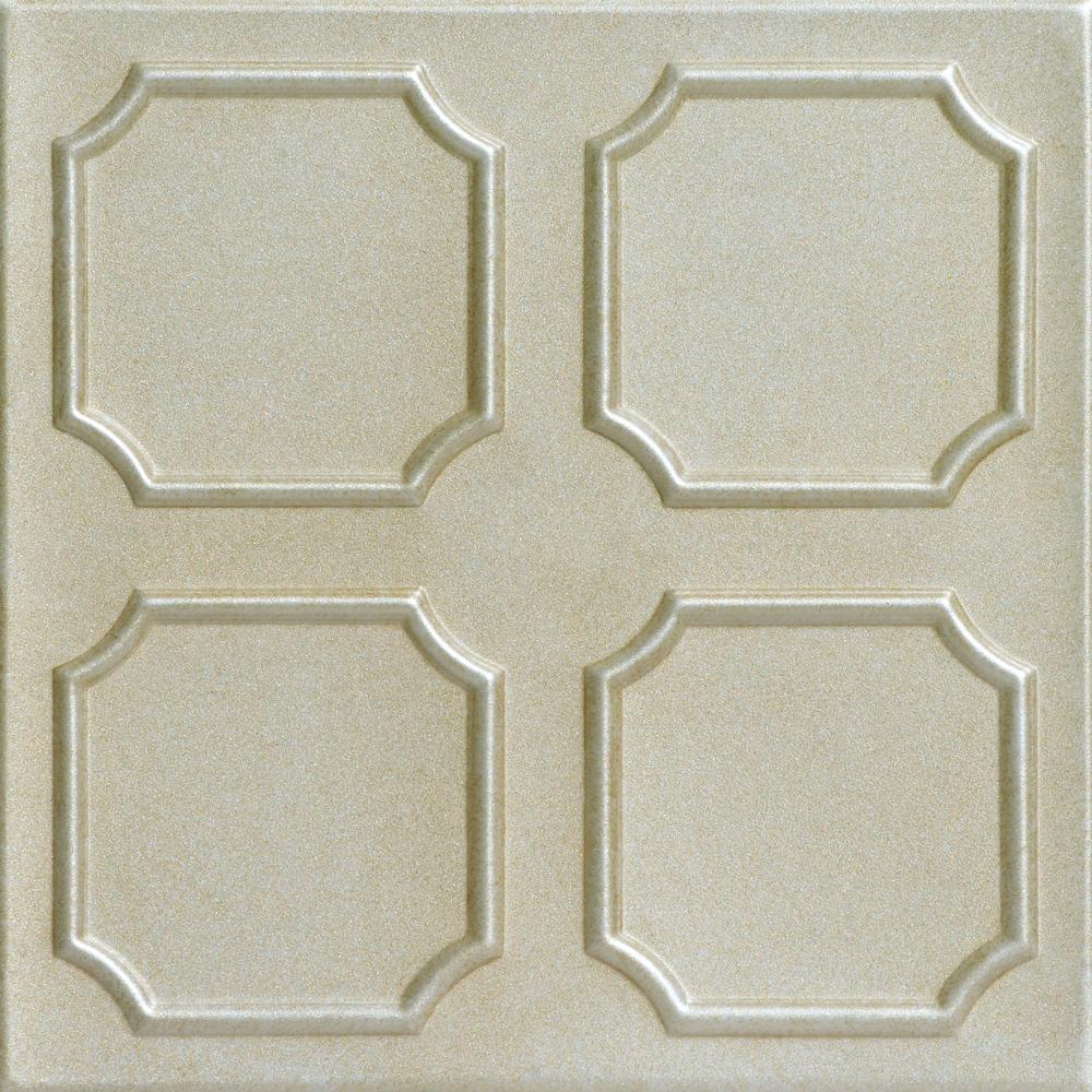 Bostonian 1.6 ft. x 1.6 ft. Foam Glue-up Ceiling Tile in Onyx Gold