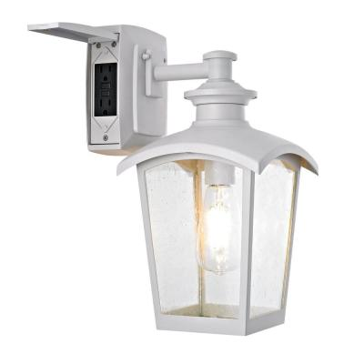 Spence 1-Light White Outdoor Wall Lantern Sconce with Seeded Glass and Built-In GFCI Outlets