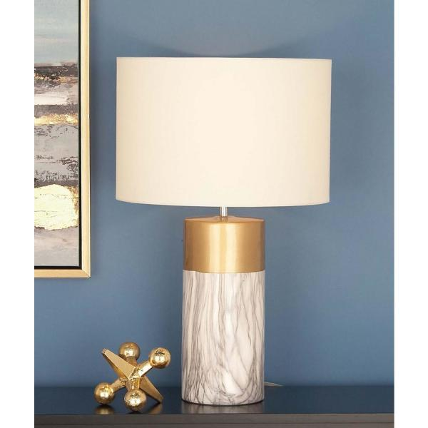 a27f30f8f1fe CosmoLiving by Cosmopolitan 24 in. Modern White and Gold Ceramic Table Lamp