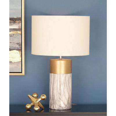 24 in. Modern White and Gold Ceramic Table Lamp
