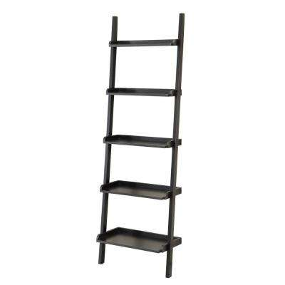23 in. W 5-Shelf Leaning Shelf in Black