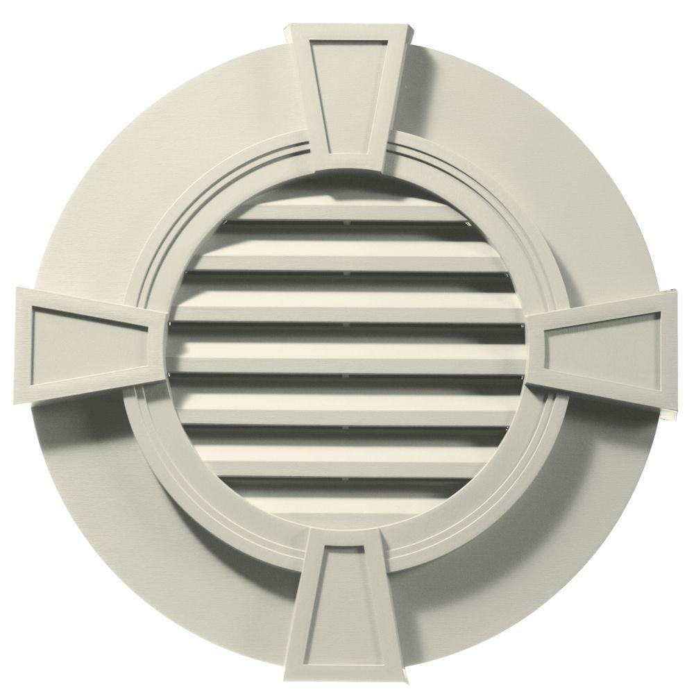 Builders Edge 30 in. Round Gable Vent in Linen with Keystones