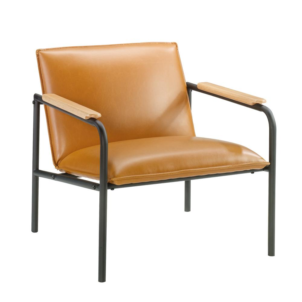 Sauder Boulevard Cafe Camel Leather Like Metal Chair