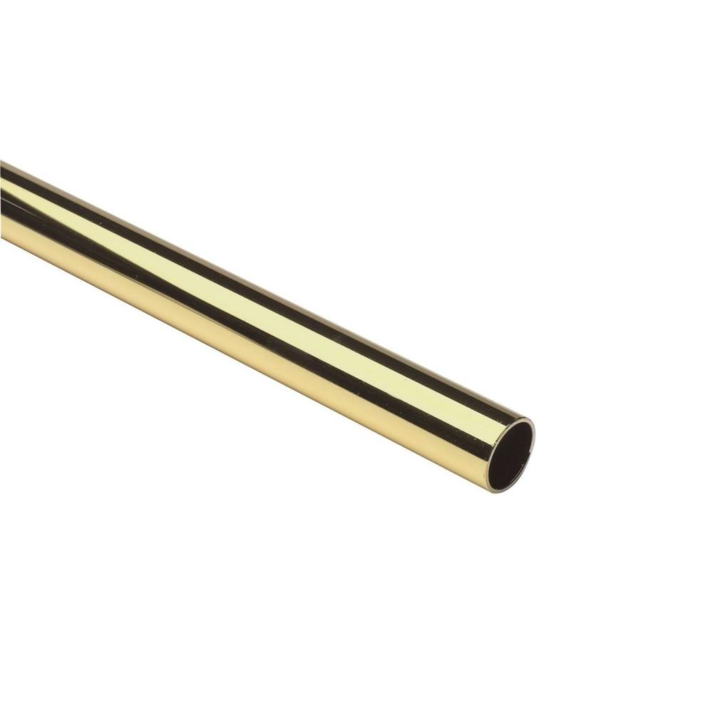 72 in. x 1-5/16 in. Polished Brass Heavy Duty Closet Rod