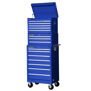 International Tech Series 27 inch 17-Drawer Tool Chest and Cabinet Combo in Blue by International