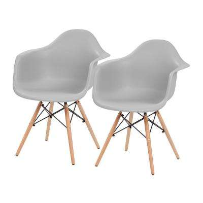 Gray Plastic Shell Chair with Arm Rest (Set of 2)